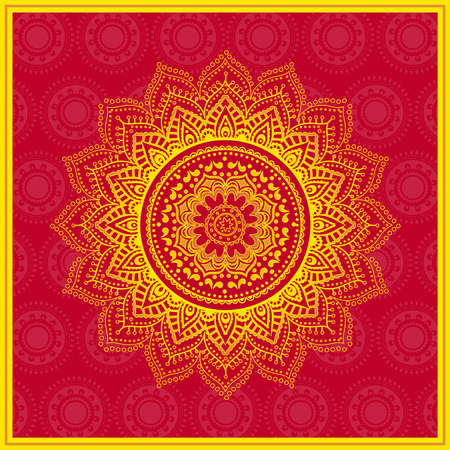 Indian lace ornament on red background