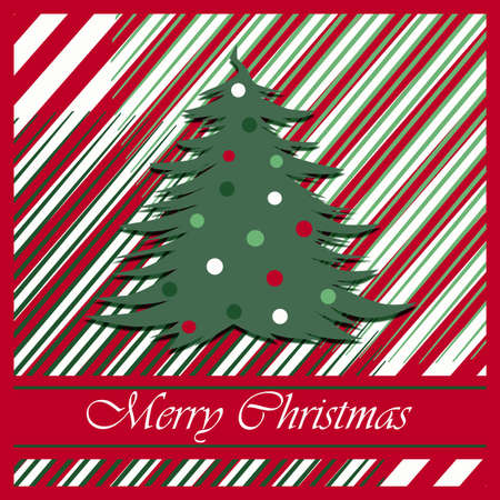 Christmas greeting card on striped background