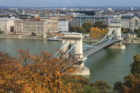 Chain Bridge with the river Danube in Budapest, Hungary