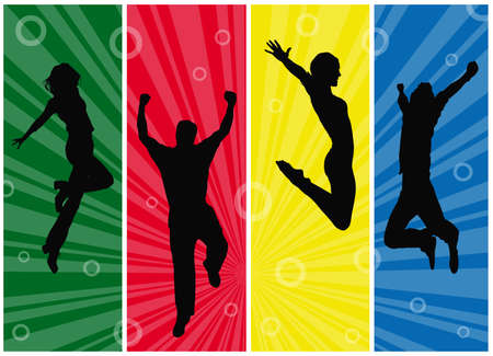 Wallpaper with jumping people silhouettes on colorful sunburst background