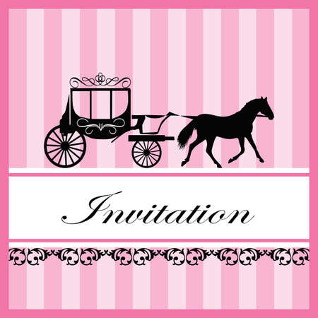 Vintage invitation card with horse carriage decoration