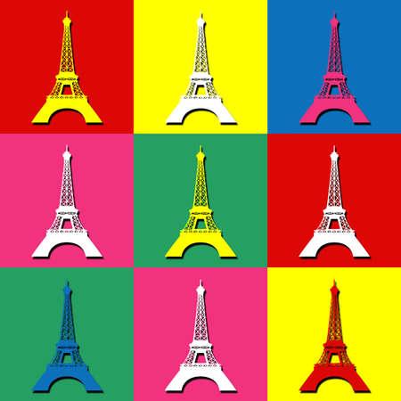 Pop art wallpaper with Eiffel Tower decoration Stock Photo