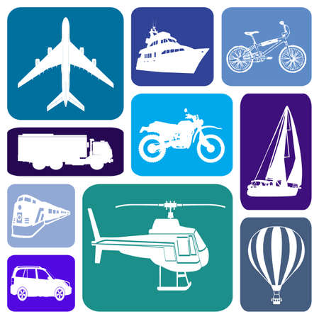 Wallpaper with transportation icons in blue rectangles
