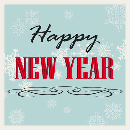 Vintage Happy New Year card on blue background