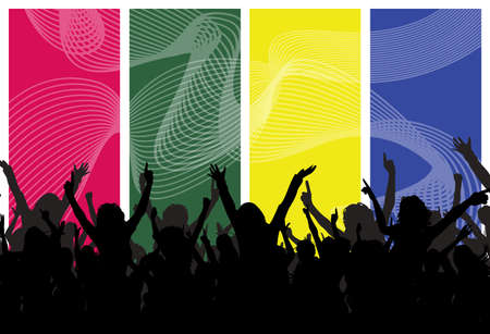 Party crowd illustration on colorful wavy background