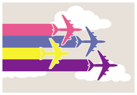Wallpaper with colorful airplanes in the sky