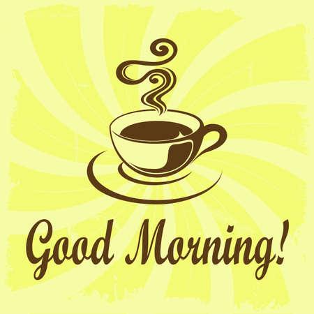 Good Morning illustration with coffee decoration on grunge background Stock Photo