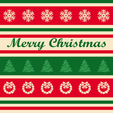 Christmas card with colorful symbols on striped background
