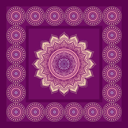 Indian lace ornament in frame on purple background Stock Photo