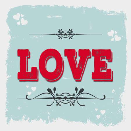 Vintage love illustration with floral and heart decoration on blue background in grunge frame
