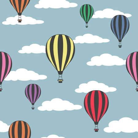 Colorful hot air balloons on the cloudy sky