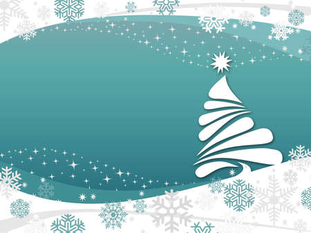 Happy Holidays illustration with Christmas tree, stars and snowflakes decoration with winter scene