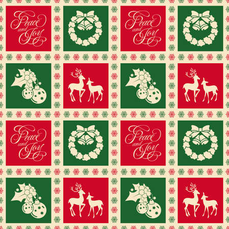 Seamless Christmas design with Christmas symbols in colorful squares
