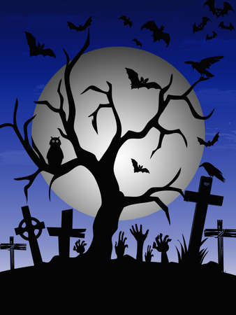 Halloween illustration with tree, bats, owl and gravestone decoration at full moon