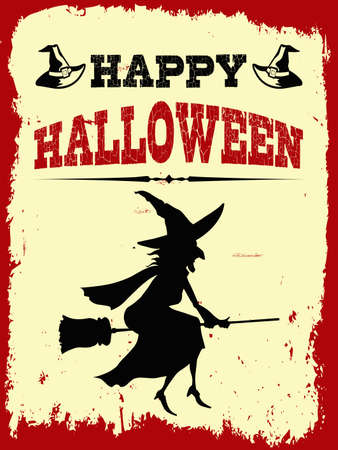 Happy Halloween illustration with witch decoration in grunge red frame