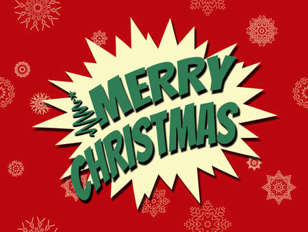 Merry Christmas comic style illustration with Christmas tree and snowflakes decoration on red background