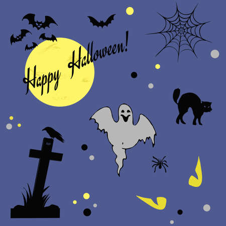 Happy Halloween illustration with different Halloween symbols on blue background