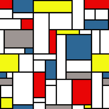 Mondrian style pattern with white, black, yellow, red, gray and blue, colors Stock Photo