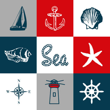 Nautical themed design with navy and aquatic decoration in seamless white, red, blue and gray squares