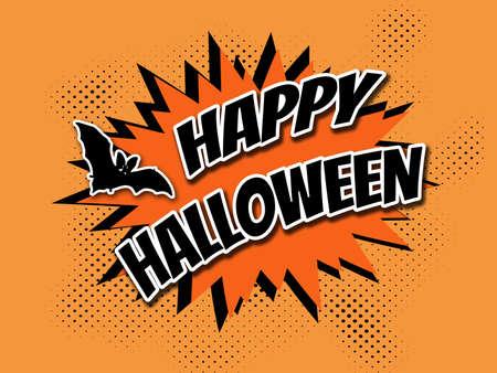 Happy Halloween comic style illustration with text design, bat and stars decoration on orange halftone background Stock Photo