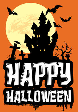 Happy Halloween text design illustration with haunted house, cemetery and bats decoration at full moon on orange background Stock Photo