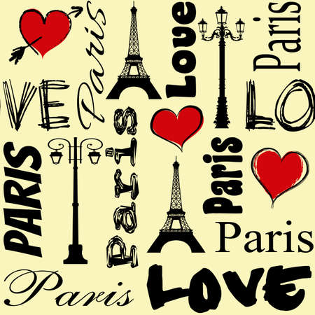 Paris text design for Valentines Day with red heart shapes, Eiffel Tower and street lamps decoration on yellow background Stock Photo