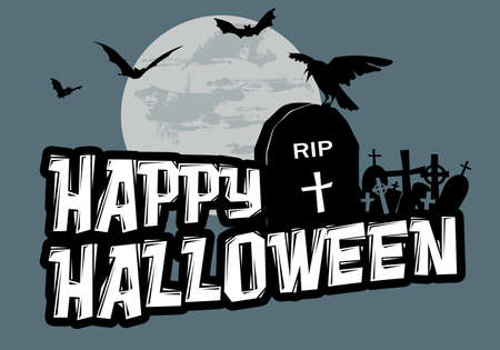 Happy Halloween text design illustration with cemetery and bats decoration at full moon on blue background