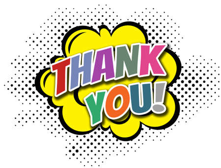 Thank You comic style illustration with text design in bright colors on white background