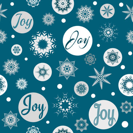 Joy text design illustration for Christmas with snow and snowflakes decoration on blue background Stock Photo