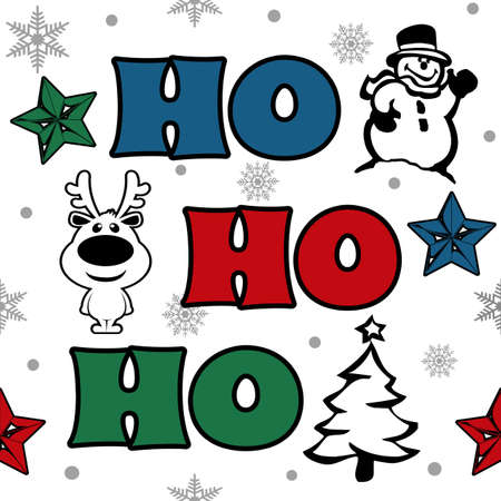 Ho-Ho-Ho Christmas design with snowflakes, snowman, Christmas tree, reindeer and colorful stars decoration on white background Stock Photo
