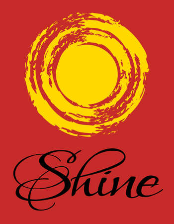 Shine inspirational text design with grunge sun decoration on red background Stock Photo