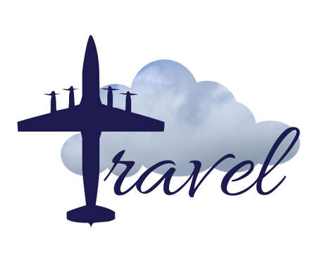 Travel text design illustration with airplane and cloudy sky decoration on white background Stock Photo