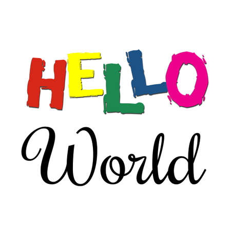 Hello World text design illustration with colorful letters on white background Stock Photo