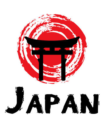 Japan text design illustration with grunge red sun and Torii gate decoration on white background