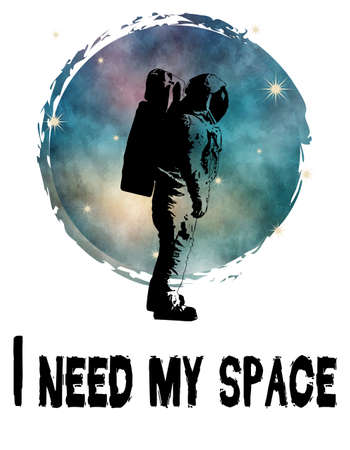 I need my space text design illustration with astronaut and starry space decoration on white background