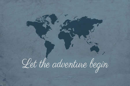 Let the adventure begin text design illustration with world map decoration on grunge blue background