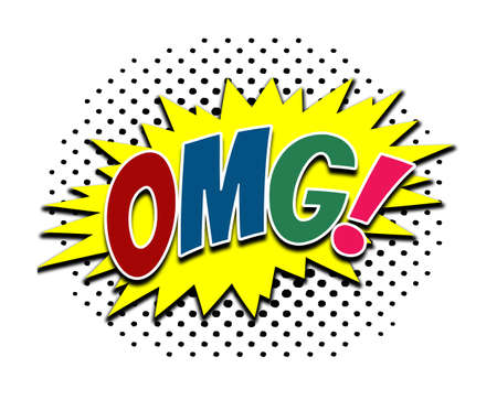 OMG! (Oh, My God!) colorful comic speech bubble illustration with halftone decoration on white background Stock Photo