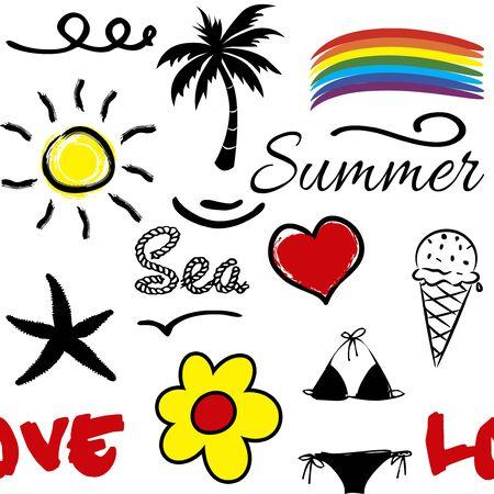 Nahtloses Sommermuster mit Sommersymbolen (Palme, Regenbogen, Wellen, Sonne, Blume, Eis, Seestern, Bikini) und roter Herzdekoration mit Textdesign auf weißem Hintergrund Standard-Bild