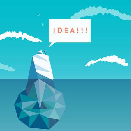 Surface idea. Abstract light bulb of triangles ice. Iceberg.