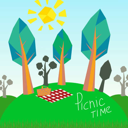Abstract background. Trees and picnic basket Illustration