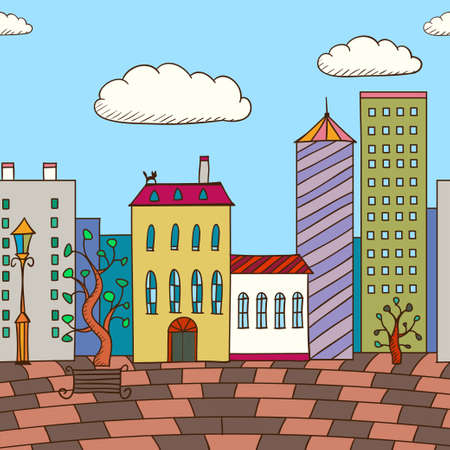 planking: Vector illustration of painted varicolored houses and planking road. Abstract background