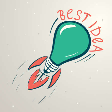 Abstract vector colorful illustration of lightbulb. Idea symbol