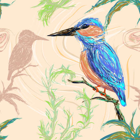 Pattern of a kingfisher bird sitting on a branch on a pastel background with its reflection Illustration