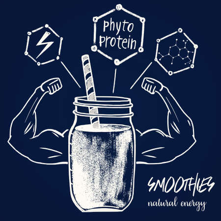 Abstract illustration of a smoothie jar with a silhouette of muscular arms.