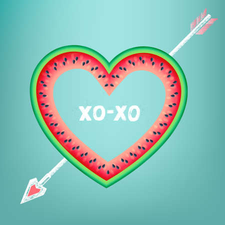 Postcard to the Valentines Day with text XOXO. Heart on watermelon pierced by a chalk arrow   Illustration