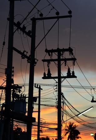 isolator insulator: Electrical power transformer Stock Photo