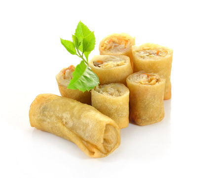 filled roll: Spring Roll also known as Egg Roll isolated on white.