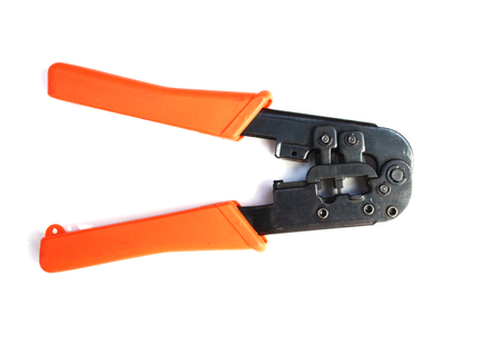 crimper: Network cable crimper isolated on white background Stock Photo