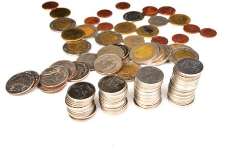 pennie: thai bath coins on white background