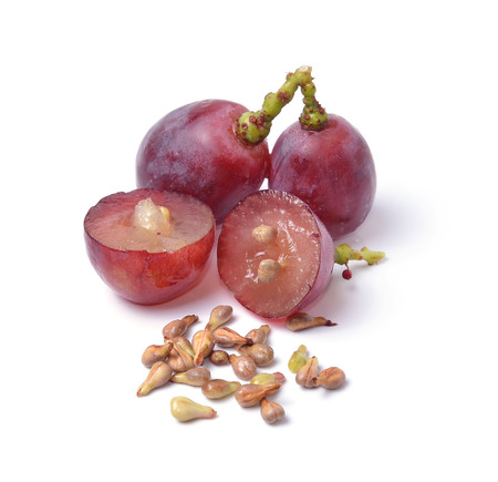 grape seeds on white background macro closeup Foto de archivo